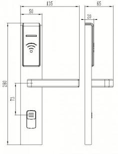 Электронный замок Bonwin 803-K размеры