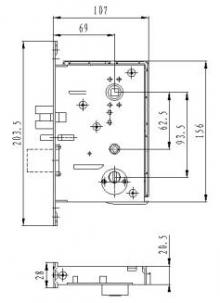 Размер врезного механизма для электронного замка BW823-G