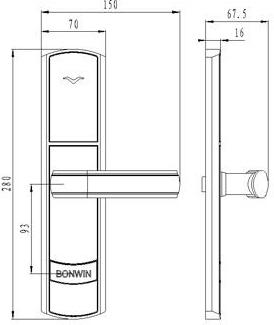 Размер корпуса для электронного замка BW823-G