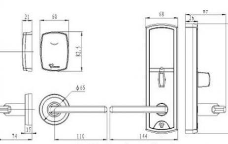 Размеры корпуса электронного замка BW 823-Q