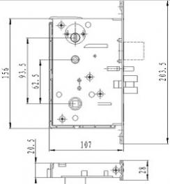 Размеры врезного механизма электронного замка BW 823-Q