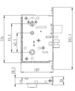 Размеры врезного механизма электронного замка BW 823-E