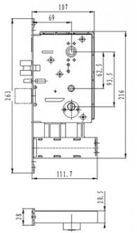 Размер врезного механизма для электронного замка BW823-С