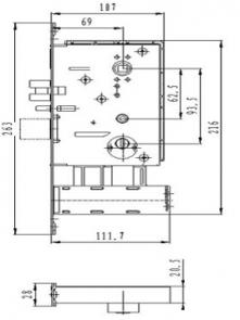 Размеры врезного механизма электронного замка BW 803-F