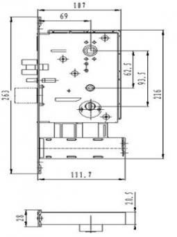 Размер врезного механизма для электронного замка BW823-F