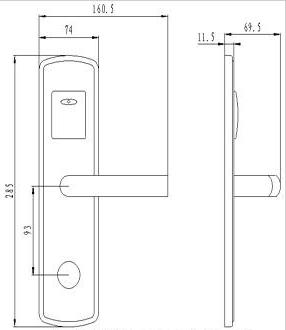 Размер корпуса электронного замка BW823-F