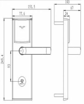 Размеры электронного замка Bonwin BW 823-T