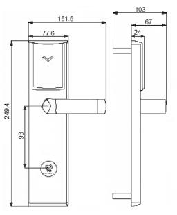 Размеры электронного замка Bonwin BW 803-T